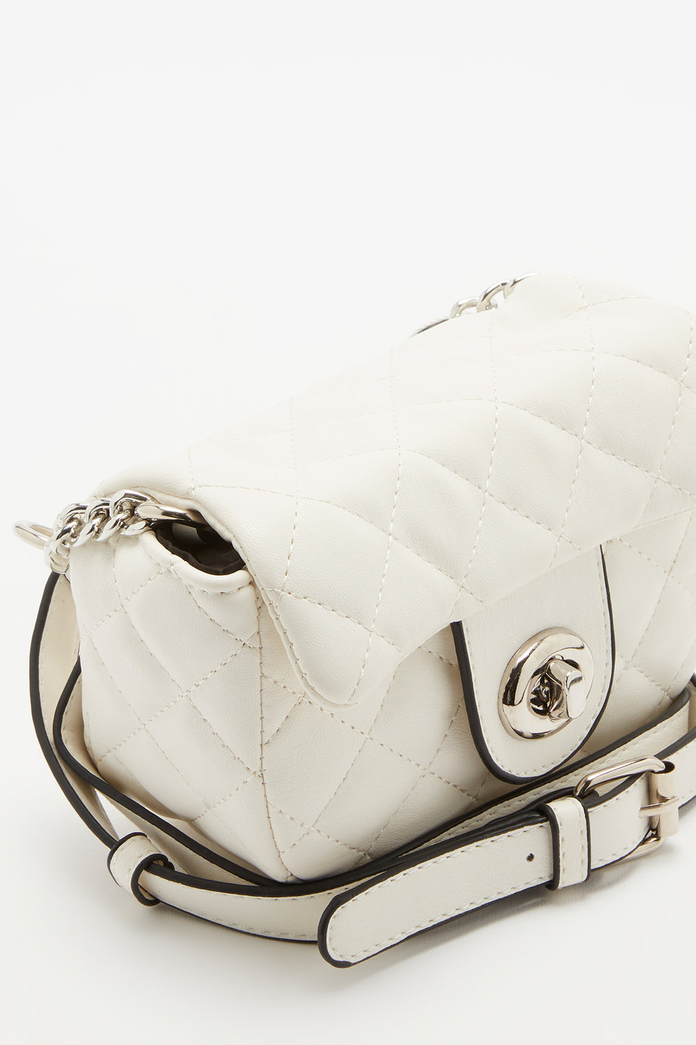 Quilted Belt Bag White