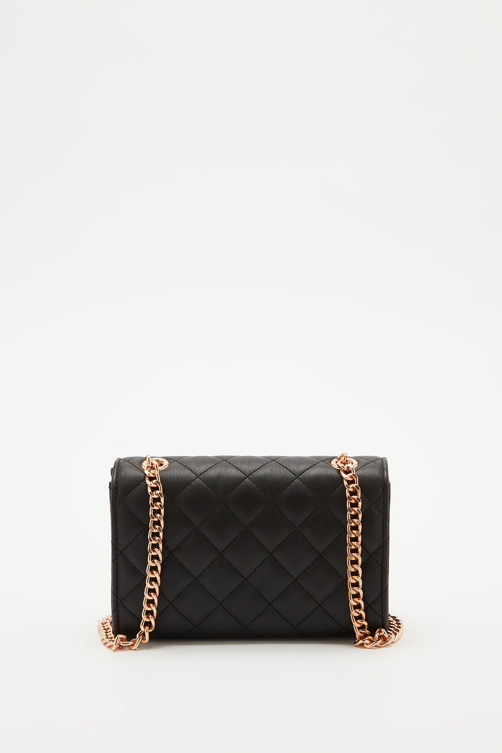 Quilted Fold Over Crossbody Bag Black