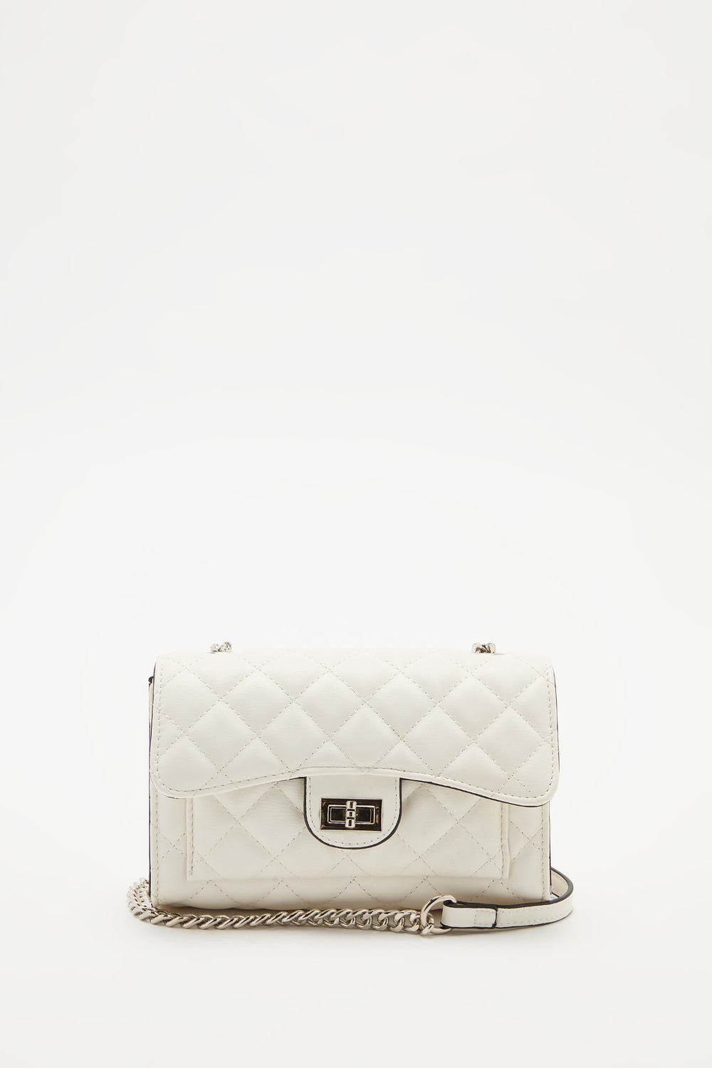Quilted Fold Over Crossbody Bag White