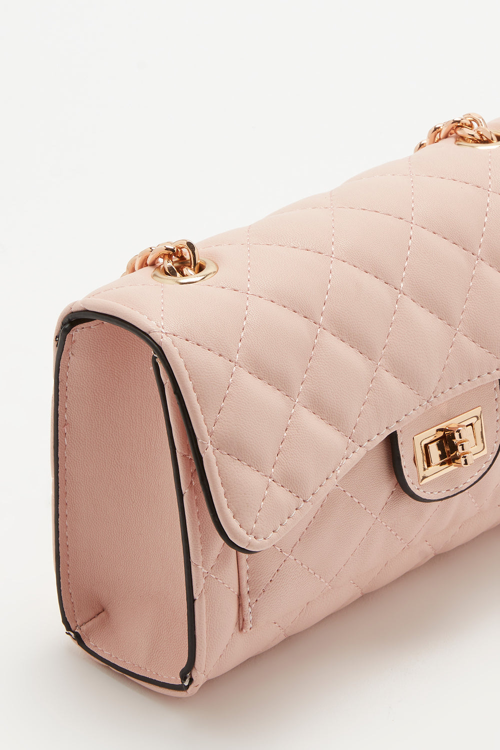 Quilted Fold Over Crossbody Bag Rose