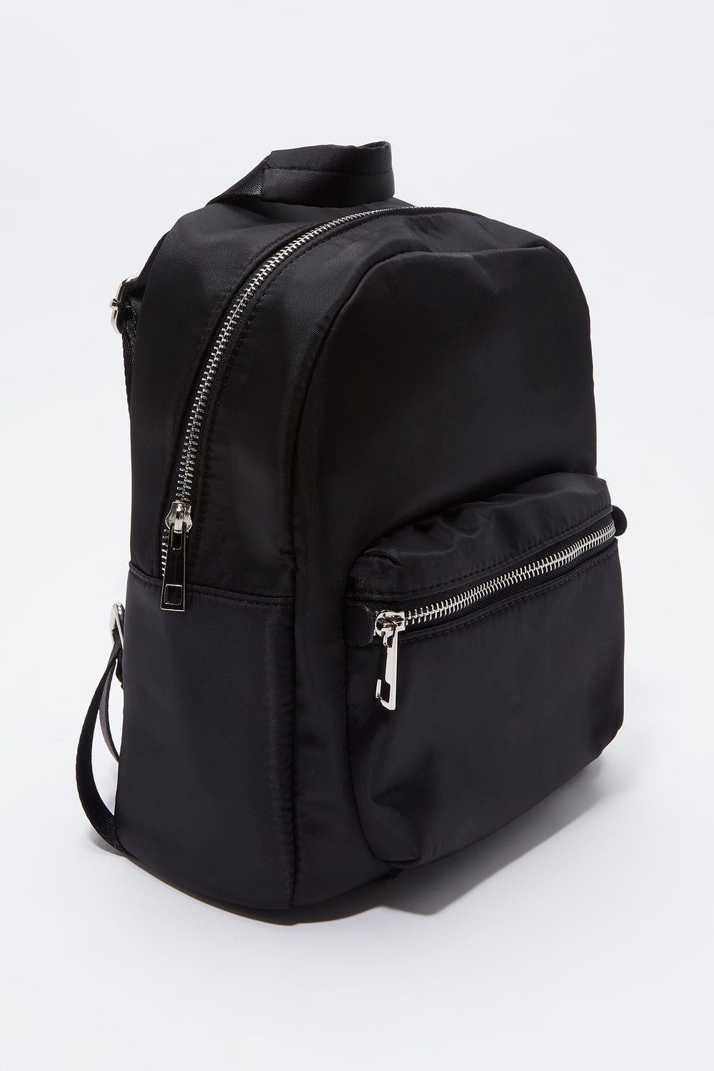 Solid Nylon Backpack Black