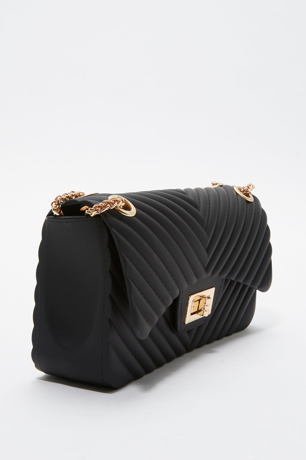 Quilted Chain Crossbody Bag Black