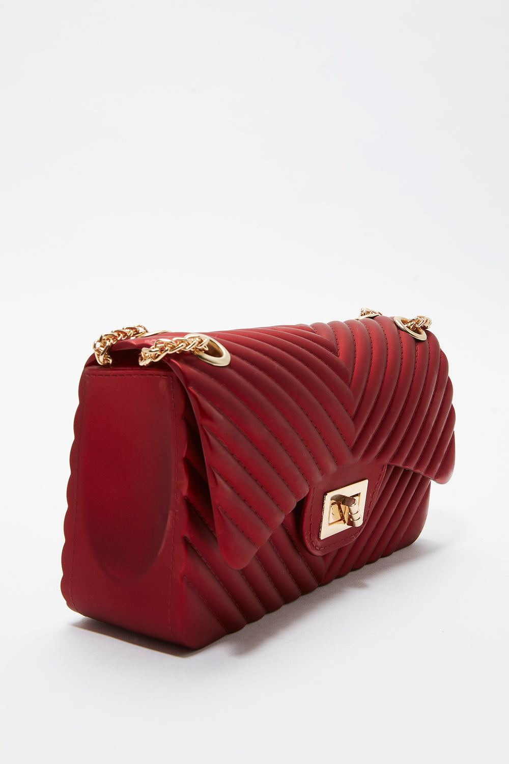 Quilted Chain Crossbody Bag Red