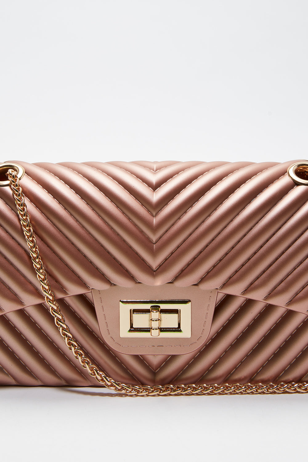 Quilted Chain Crossbody Bag Rose