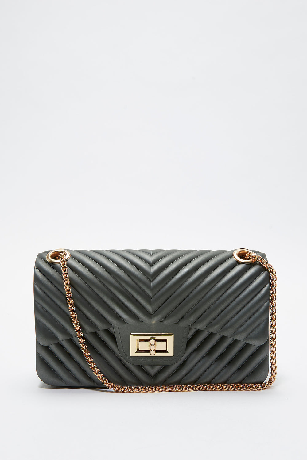 Quilted Chain Crossbody Bag Dark Grey