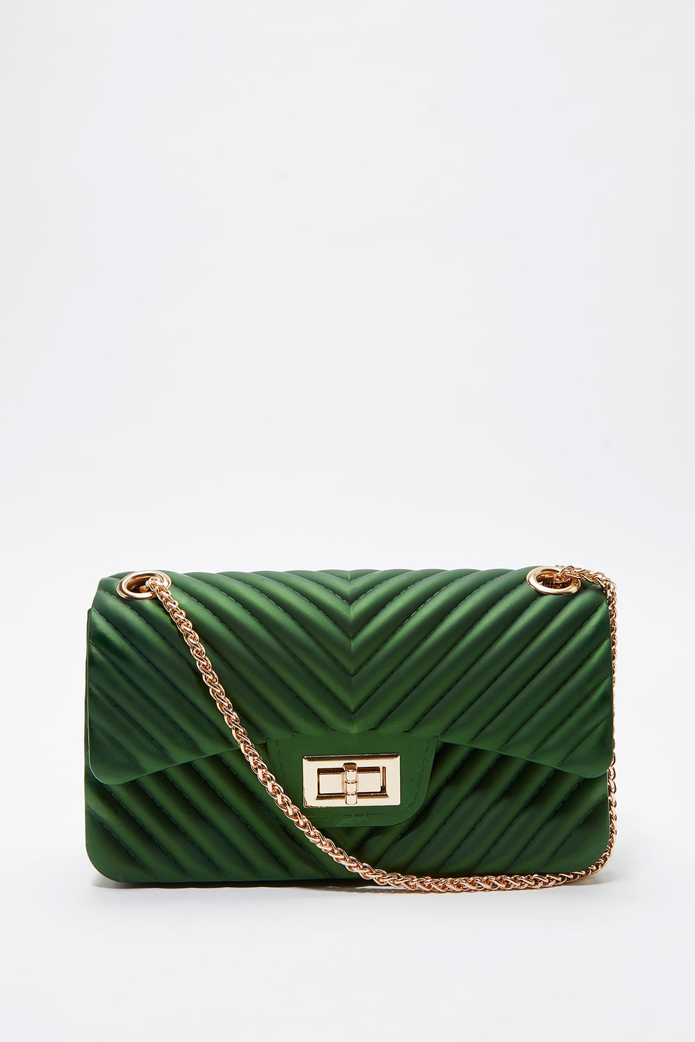 Quilted Chain Crossbody Bag Green
