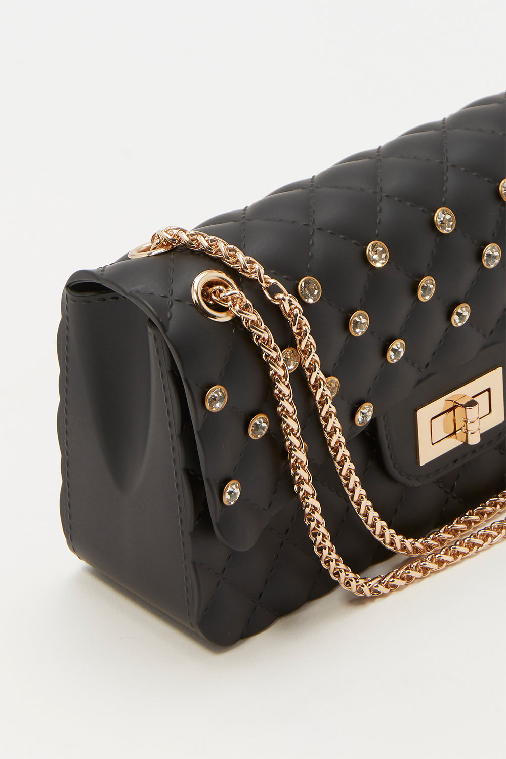 Rhinestone Quilted Crossbody Chain Bag Black