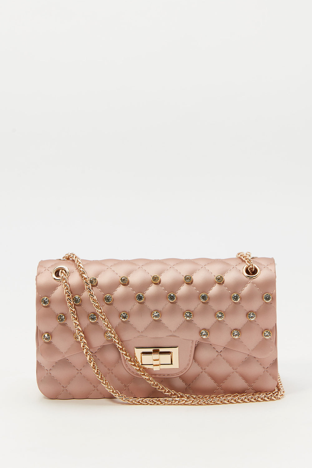 Rhinestone Quilted Crossbody Chain Bag Rose