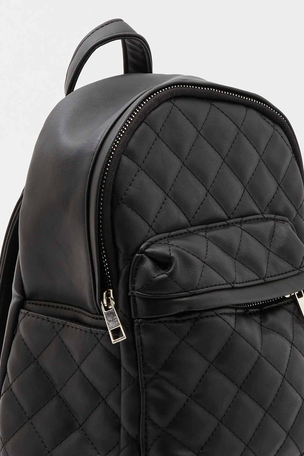 Quilted Mini Backpack Black
