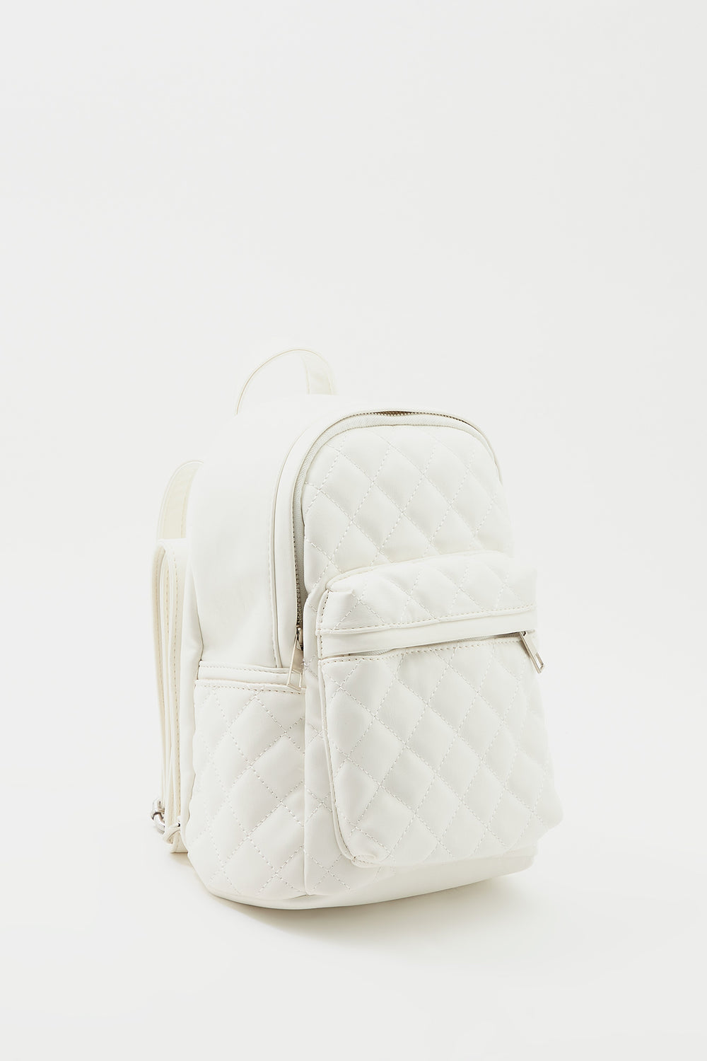 Quilted Mini Backpack White