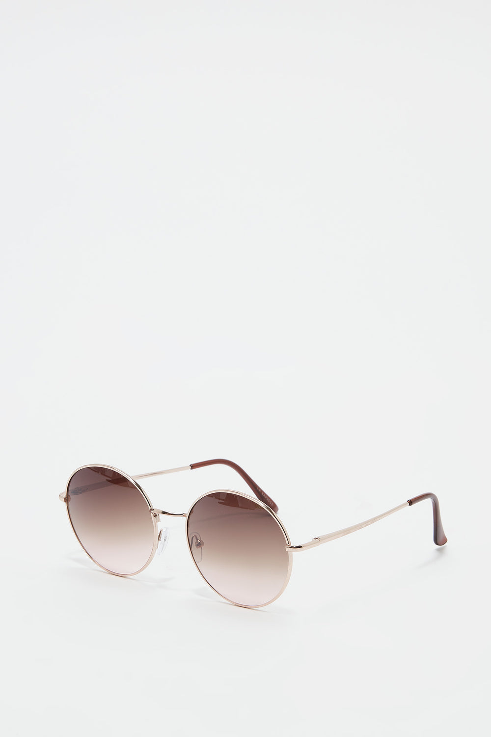 Metal Round Ombre Lens Sunglasses Brown