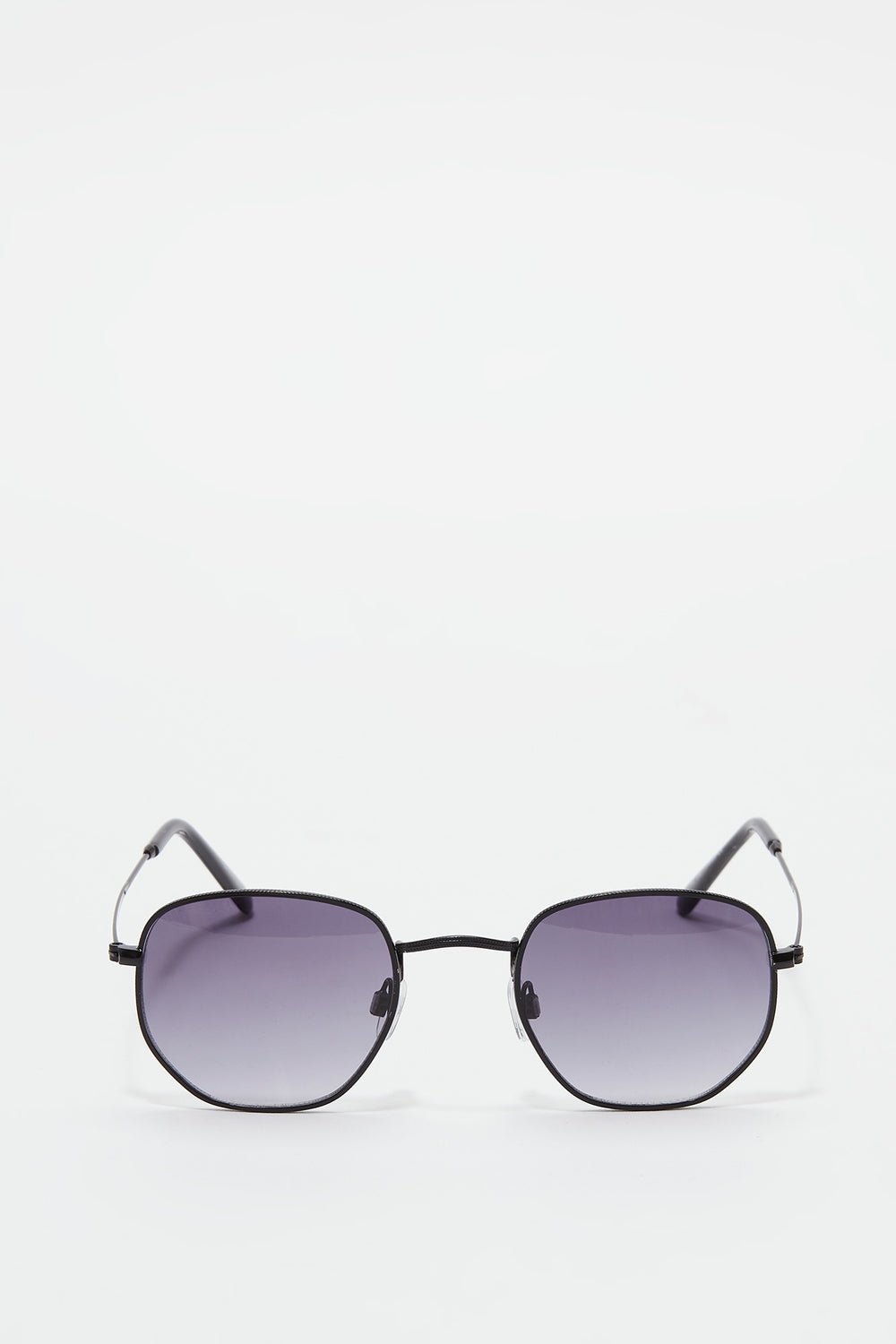 Metal Geo Square Sunglasses Black