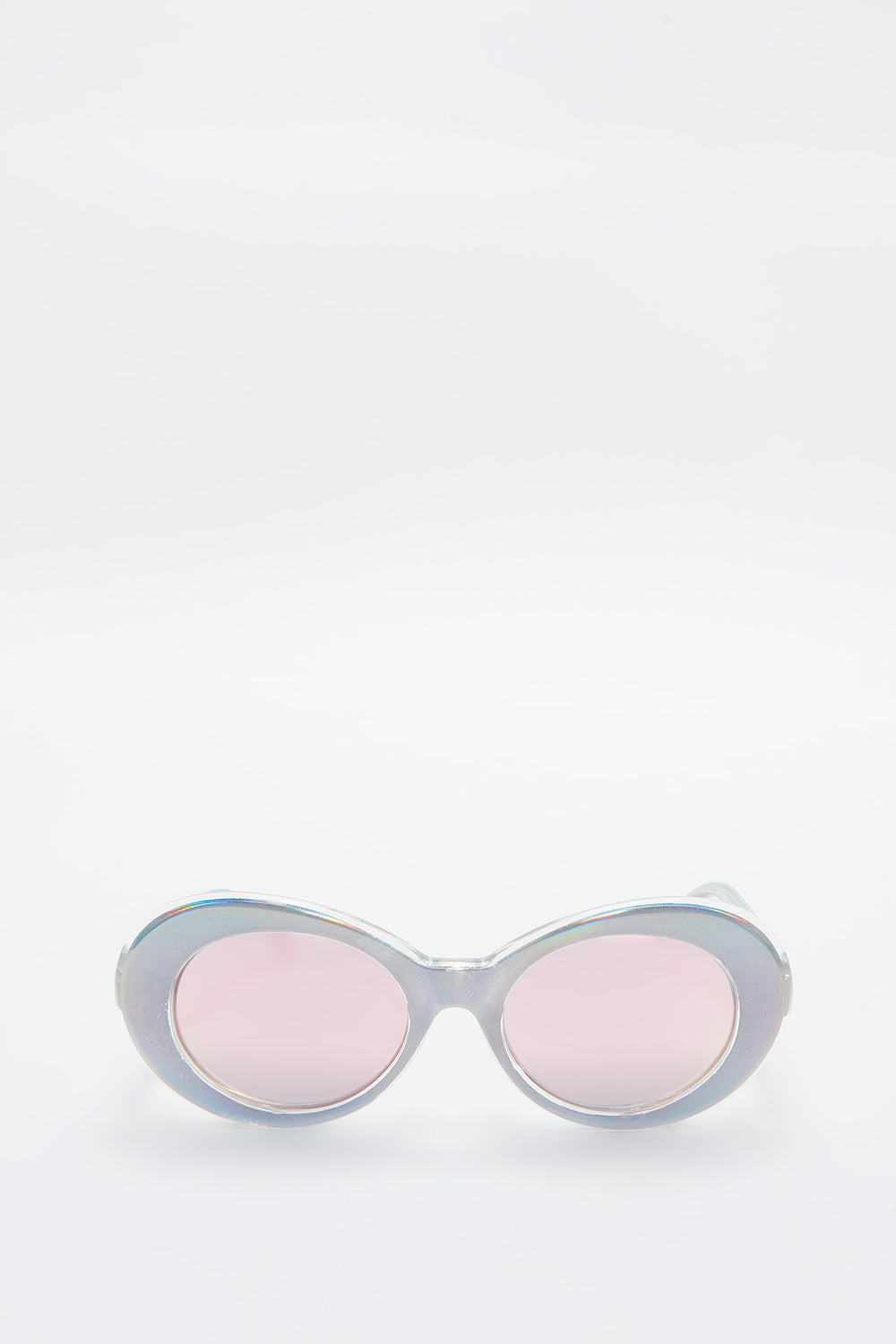 Holographic Oval Retro Sunglasses Pink