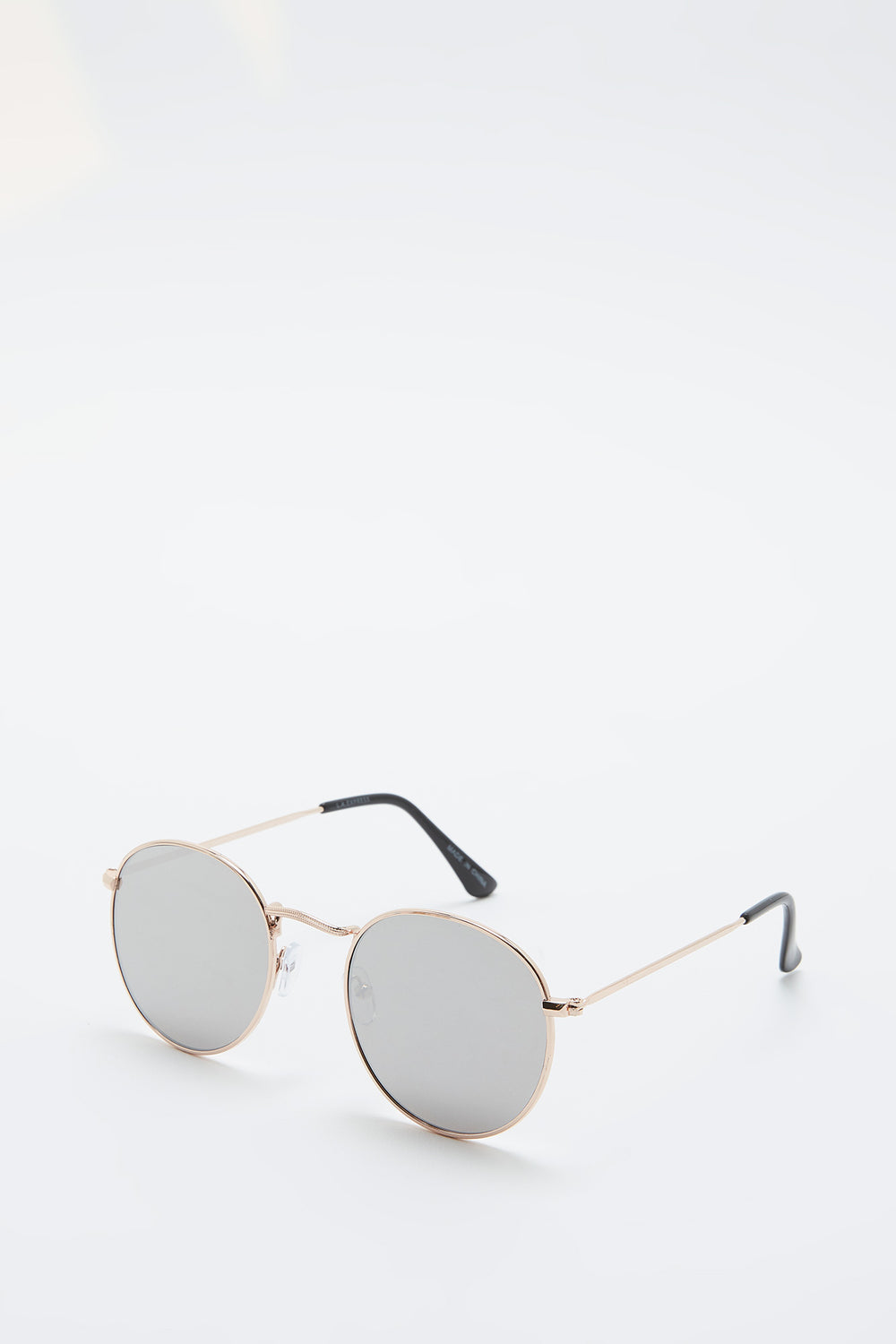 Basic Metal Round Frame Sunglasses Silver