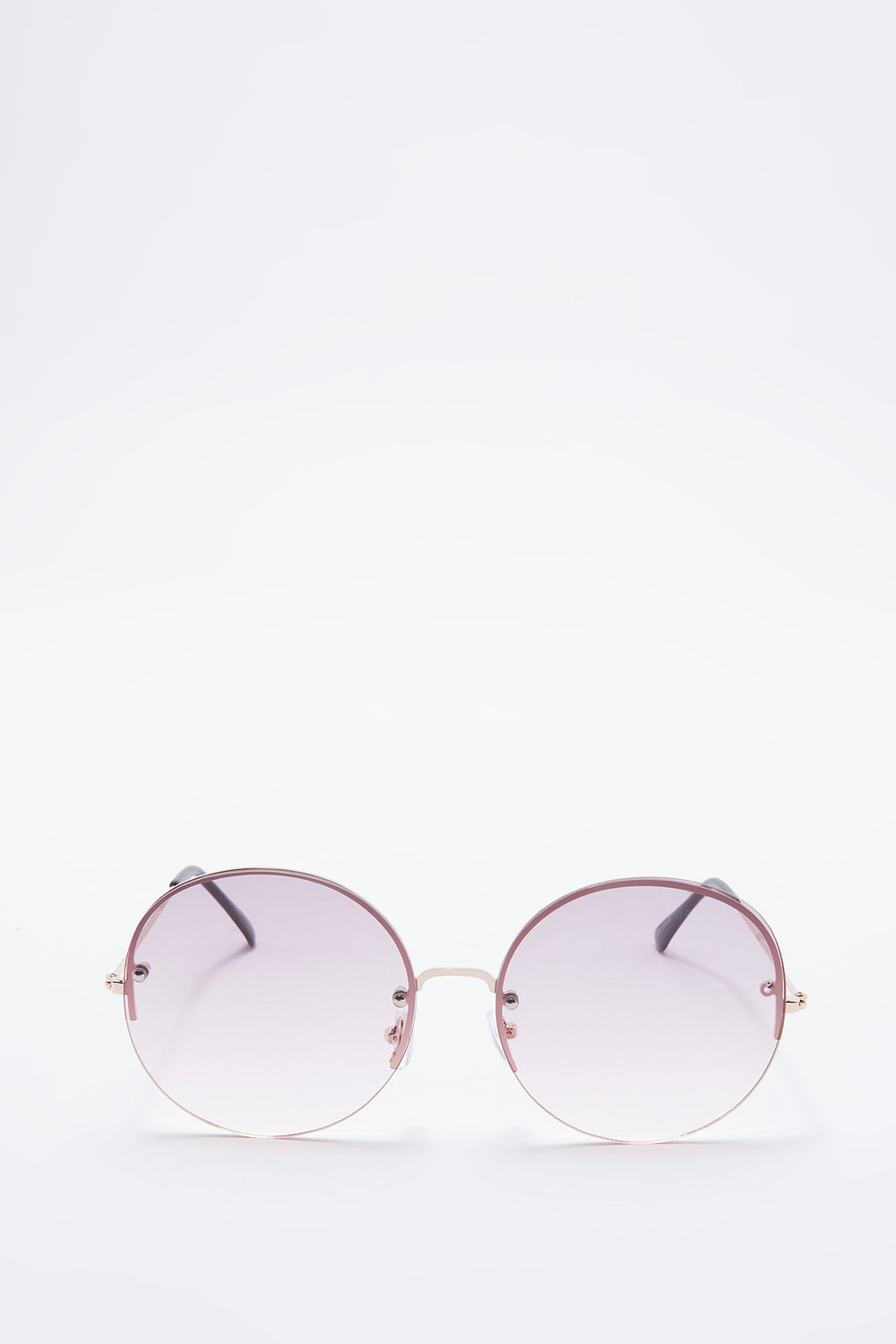 Rimless Ombre Round Frame Sunglasses Pink