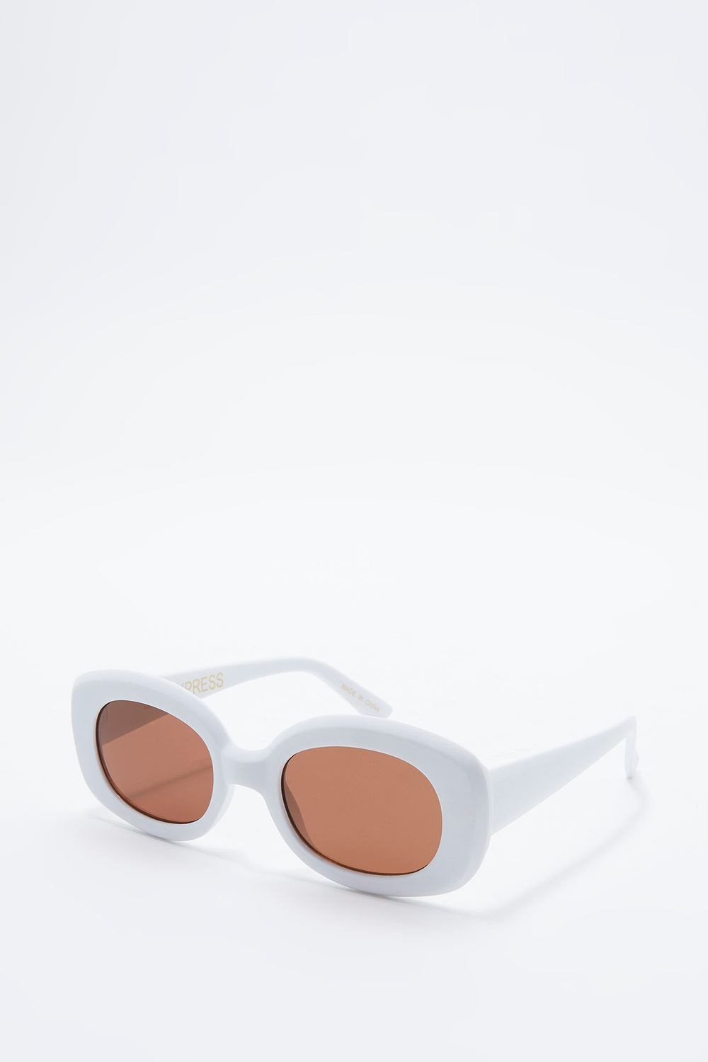Matte Oval Frame Sunglasses White