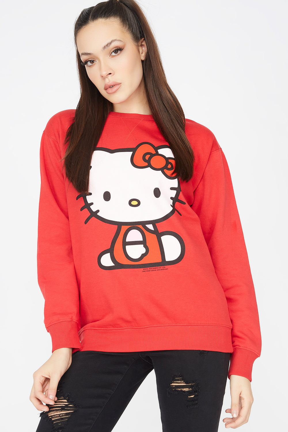 Fleece Hello Kitty Graphic Sweatshirt Red
