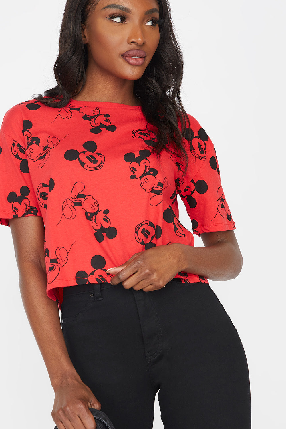 Mickey Mouse Graphic Printed Skimmer T-Shirt Red