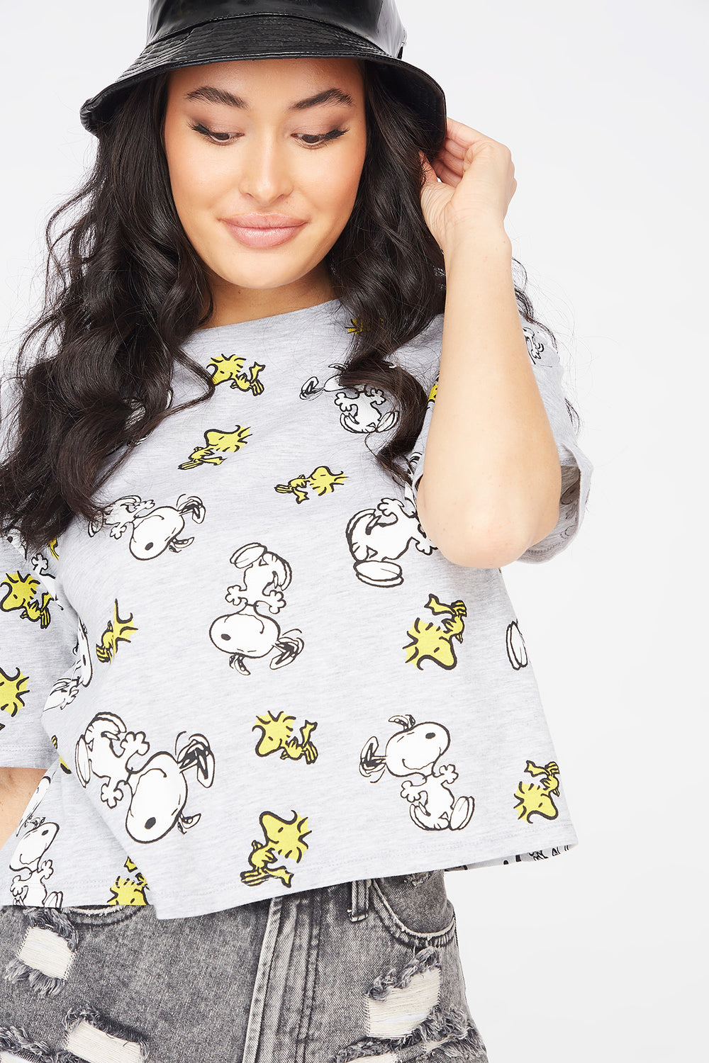 Snoopy Graphic Printed Skimmer T-Shirt Heather Grey