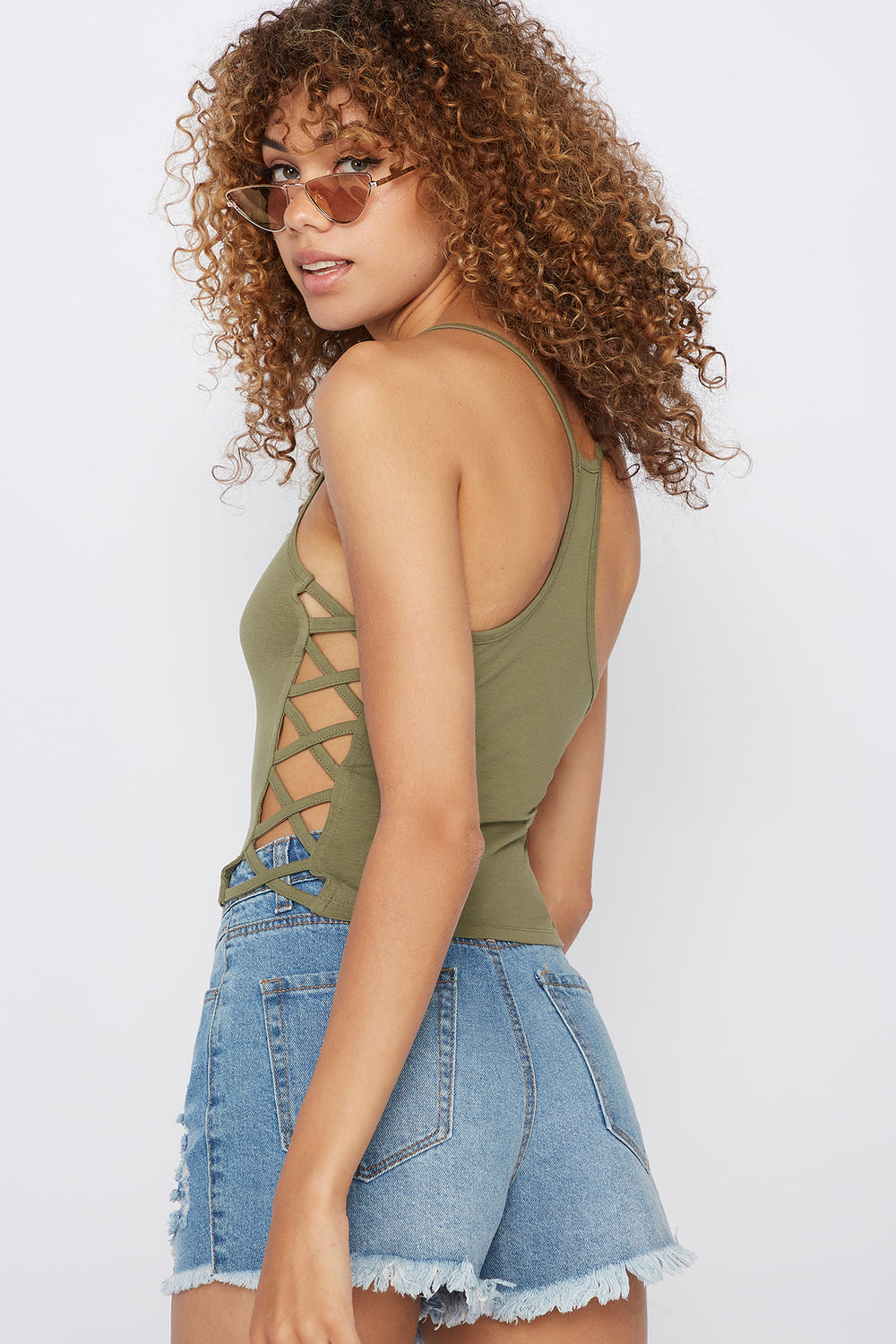 Daisy Caged Side Graphic Tank Dark Green