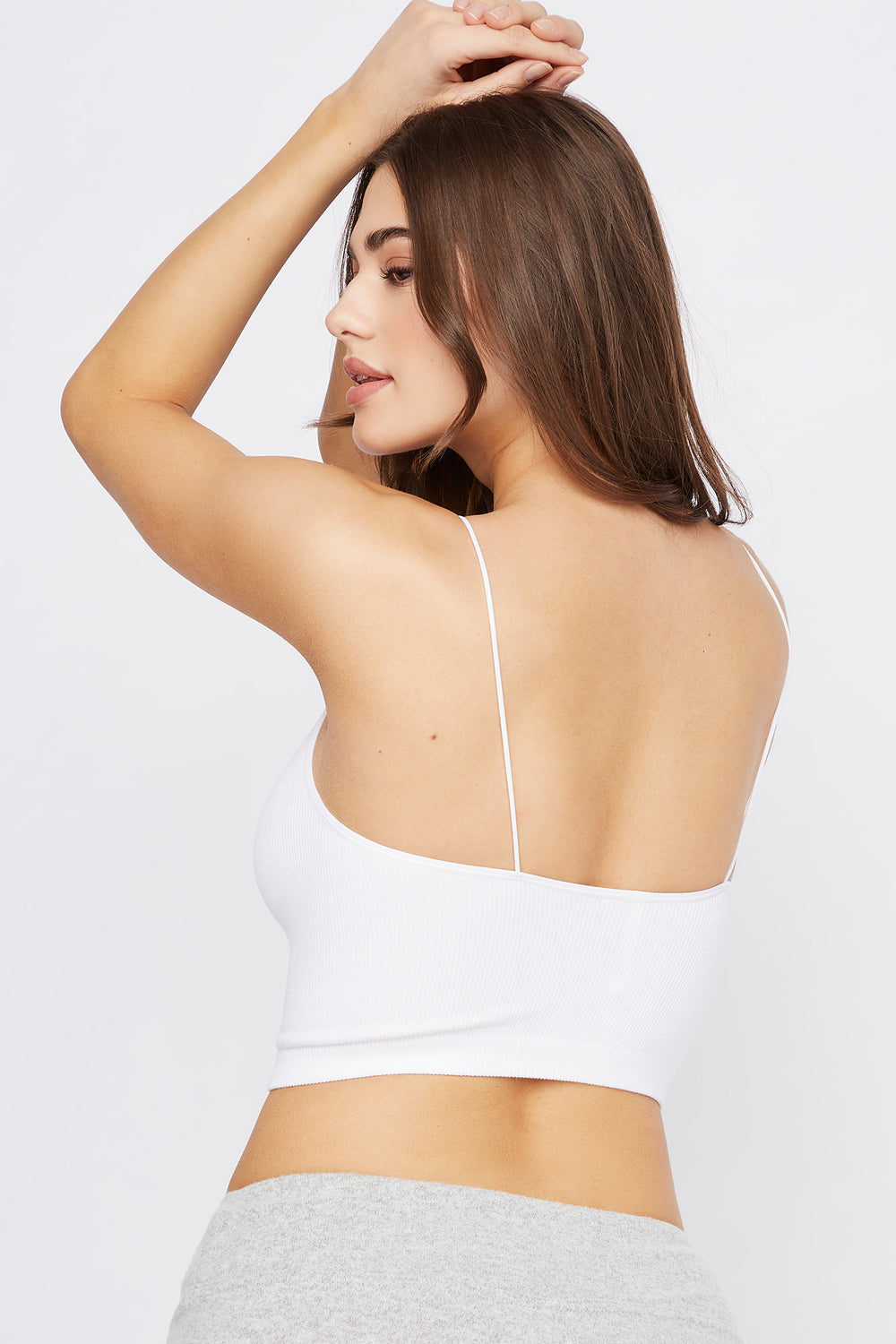 Ribbed Scoop Neck Cropped Tank White