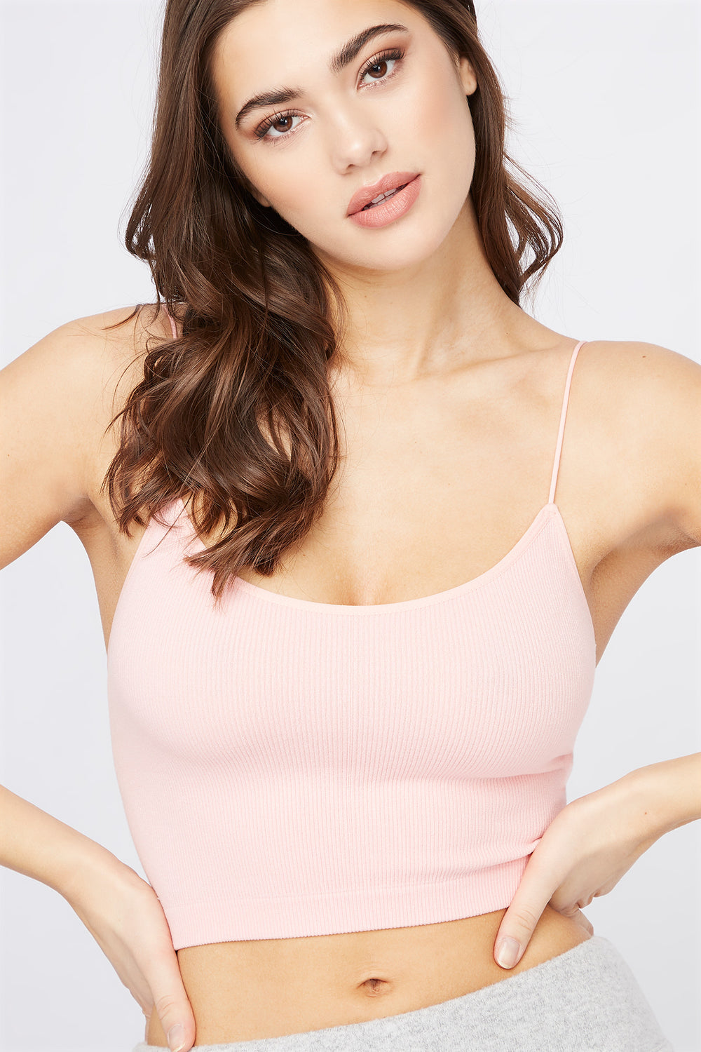 Ribbed Scoop Neck Cropped Tank Neon Pink
