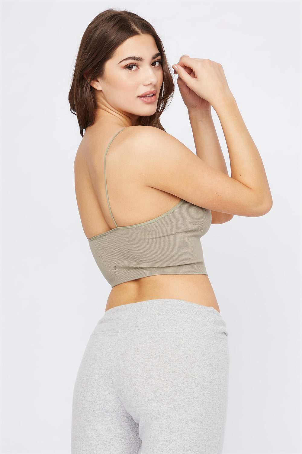 Ribbed Scoop Neck Cropped Tank Dark Green