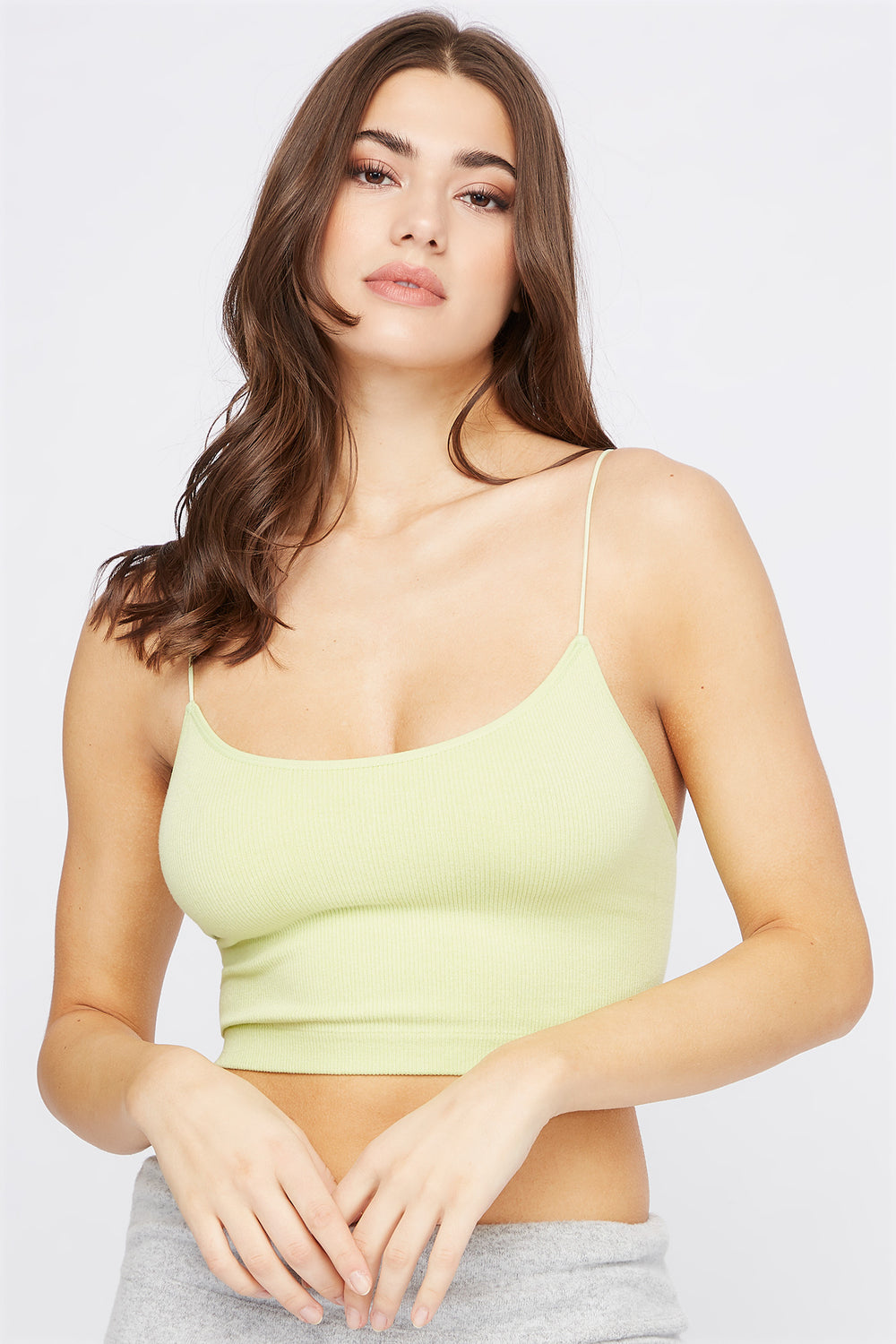 Ribbed Scoop Neck Cropped Tank Neon Green