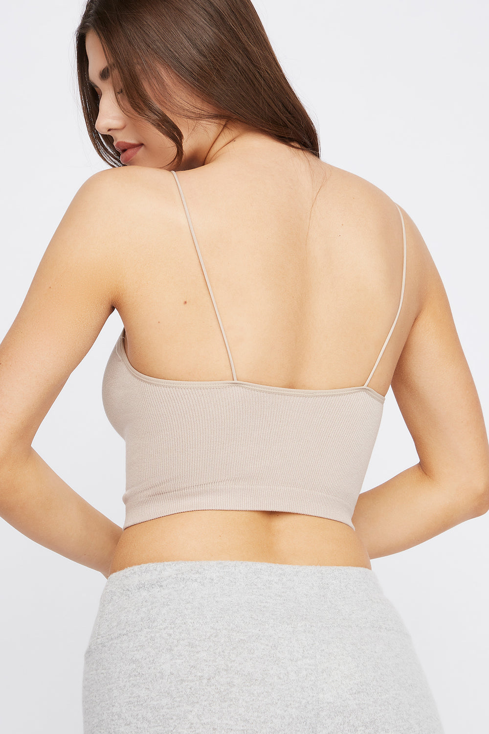 Ribbed Scoop Neck Cropped Tank Taupe