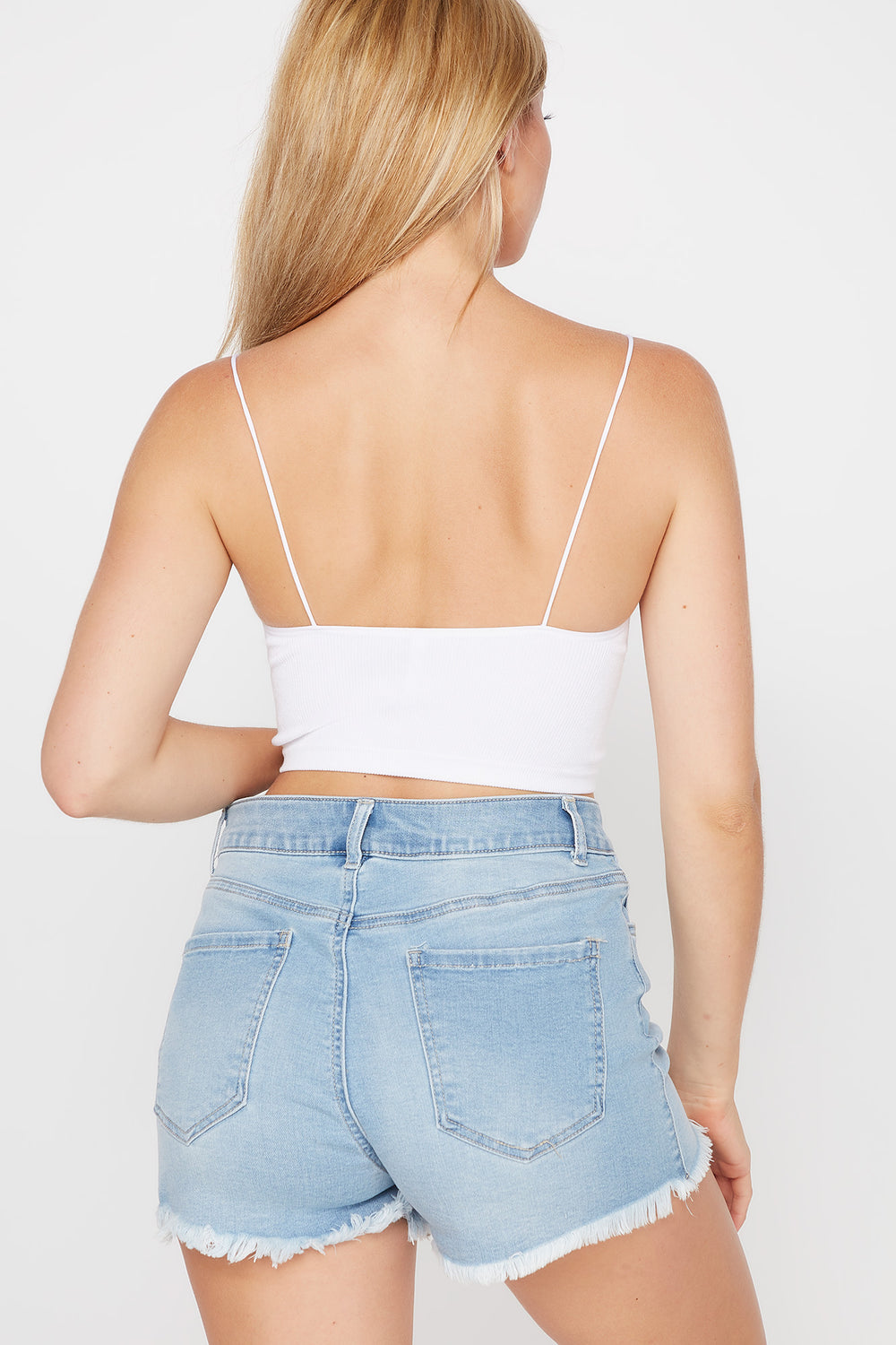 Seamless Scoop Neck Cropped Tank White
