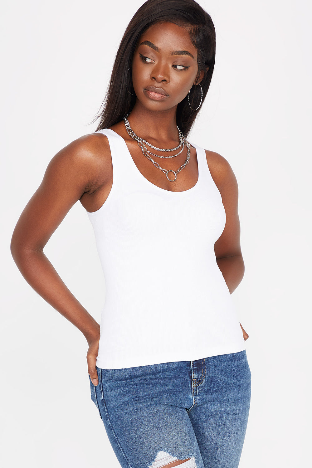 Seamless Ribbed Scoop Neck Tank White