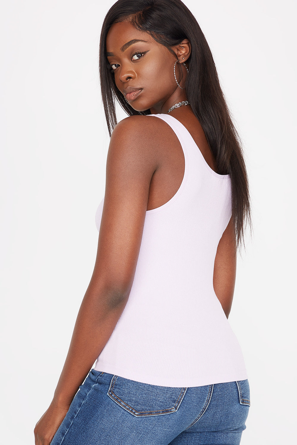 Seamless Ribbed Scoop Neck Tank Lilac