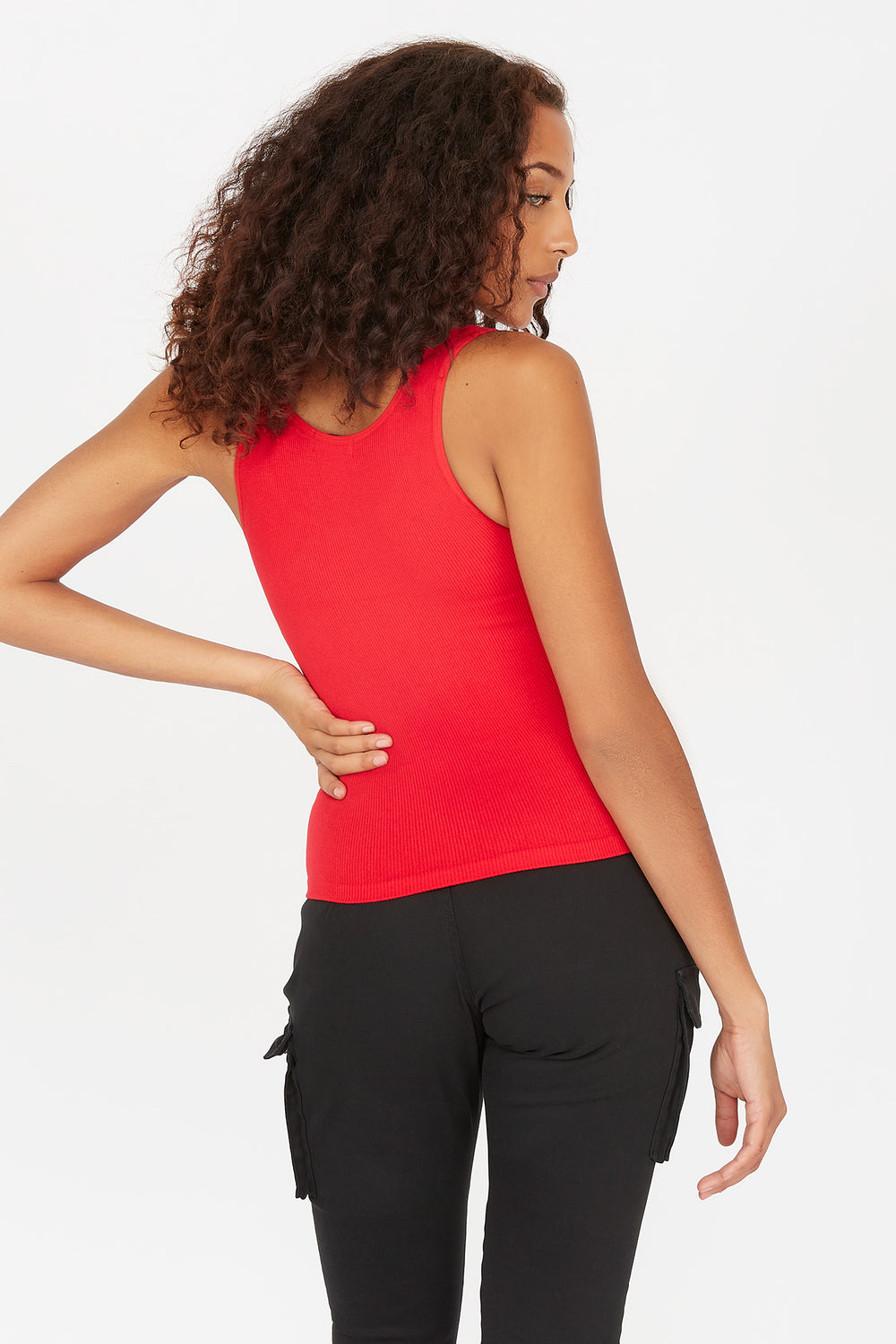 Seamless Ribbed Scoop Neck Tank Red