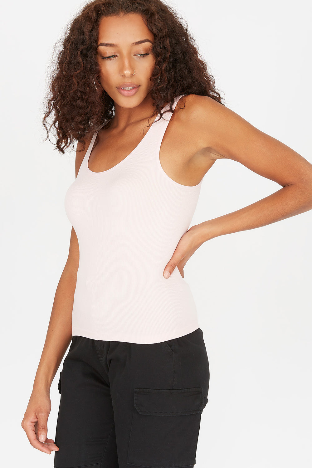 Seamless Ribbed Scoop Neck Tank Light Pink