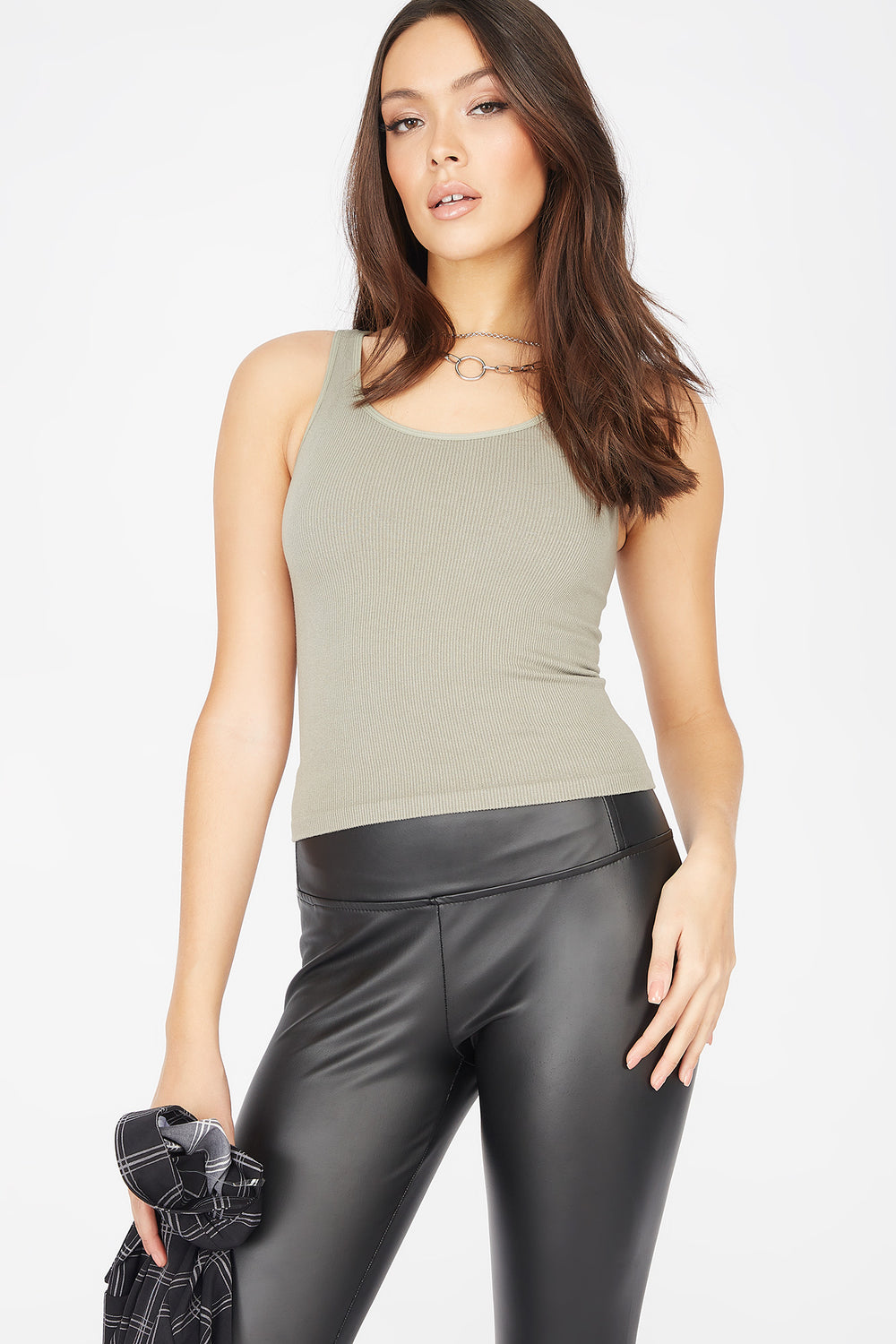 Seamless Ribbed Scoop Neck Tank Dark Green