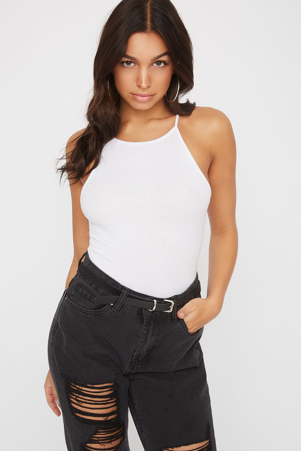 Ribbed High Neck Bodysuit White