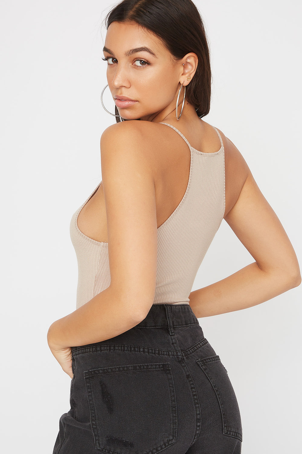 Ribbed High Neck Bodysuit Taupe
