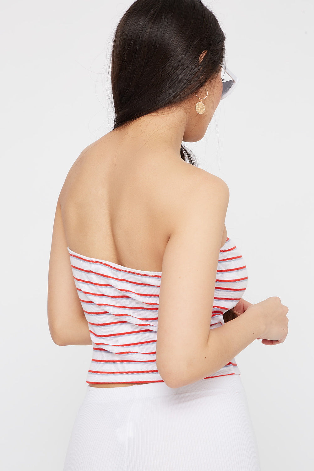 Striped Ribbed Cropped Tube Top White