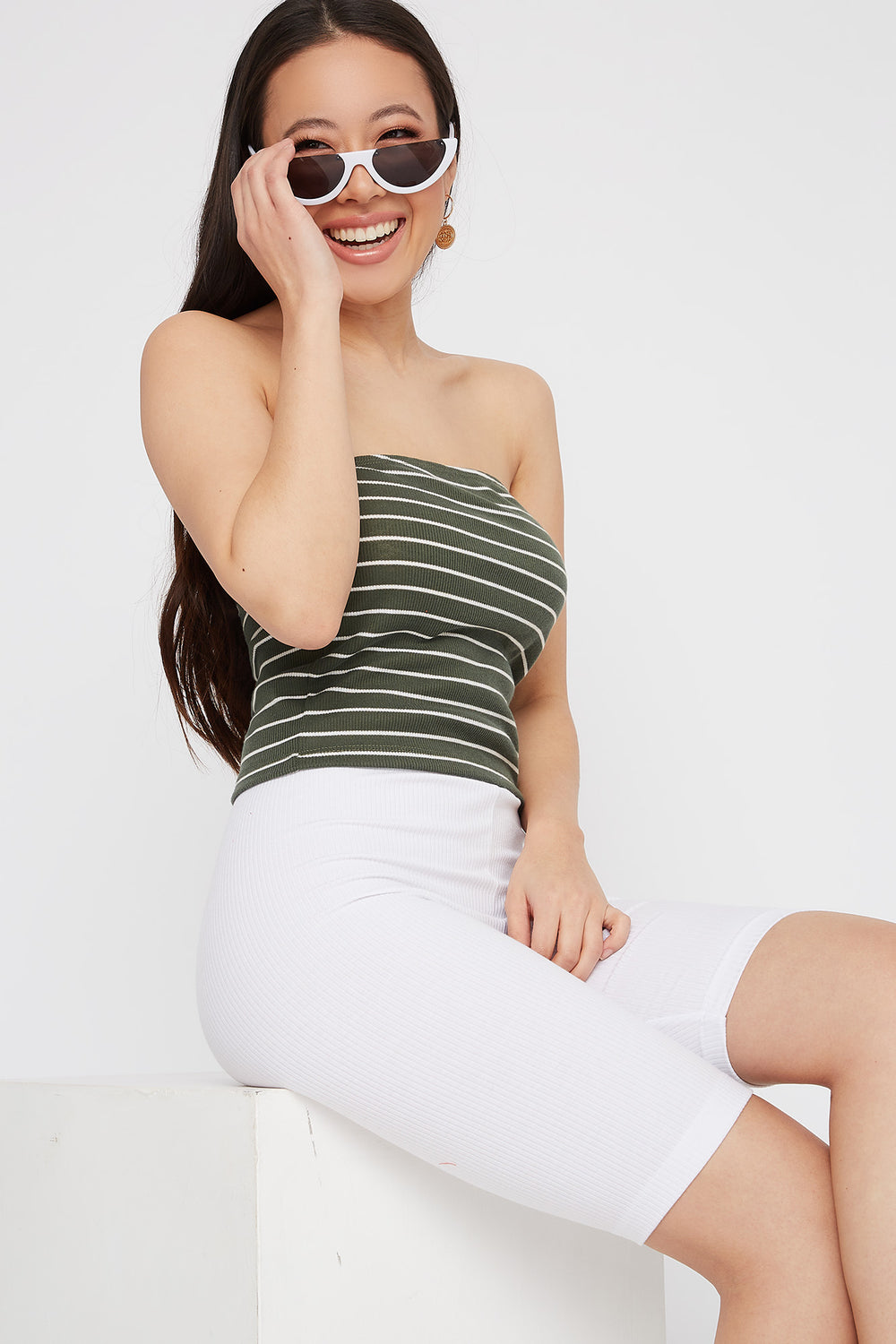 Striped Ribbed Cropped Tube Top Dark Green