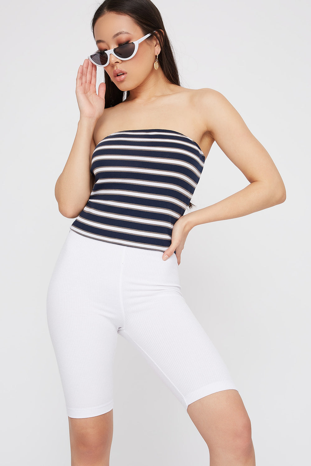 Striped Ribbed Cropped Tube Top Navy