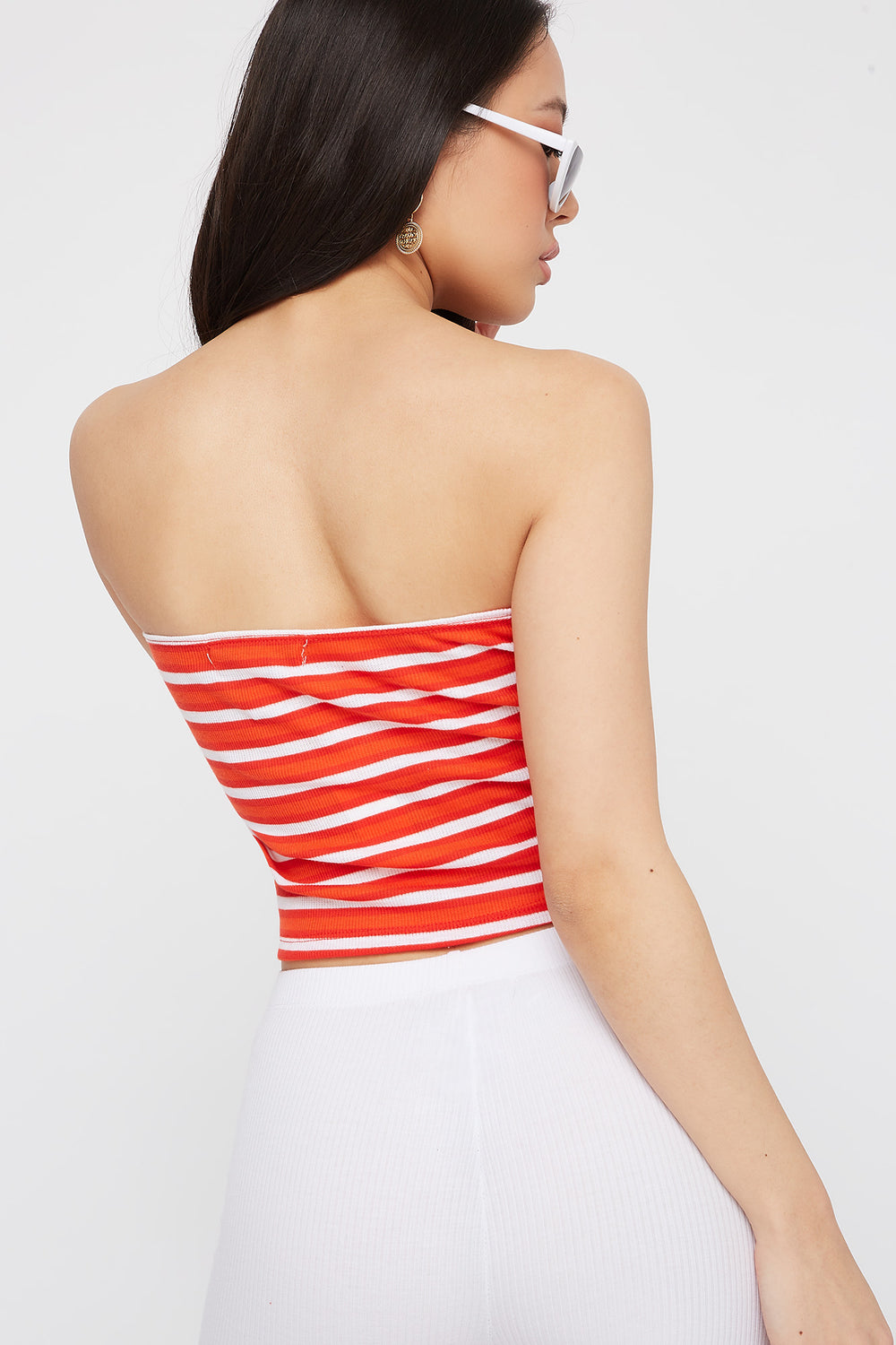 Striped Ribbed Cropped Tube Top Red