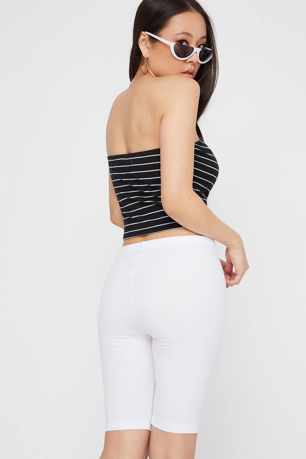 Striped Ribbed Cropped Tube Top Black with White
