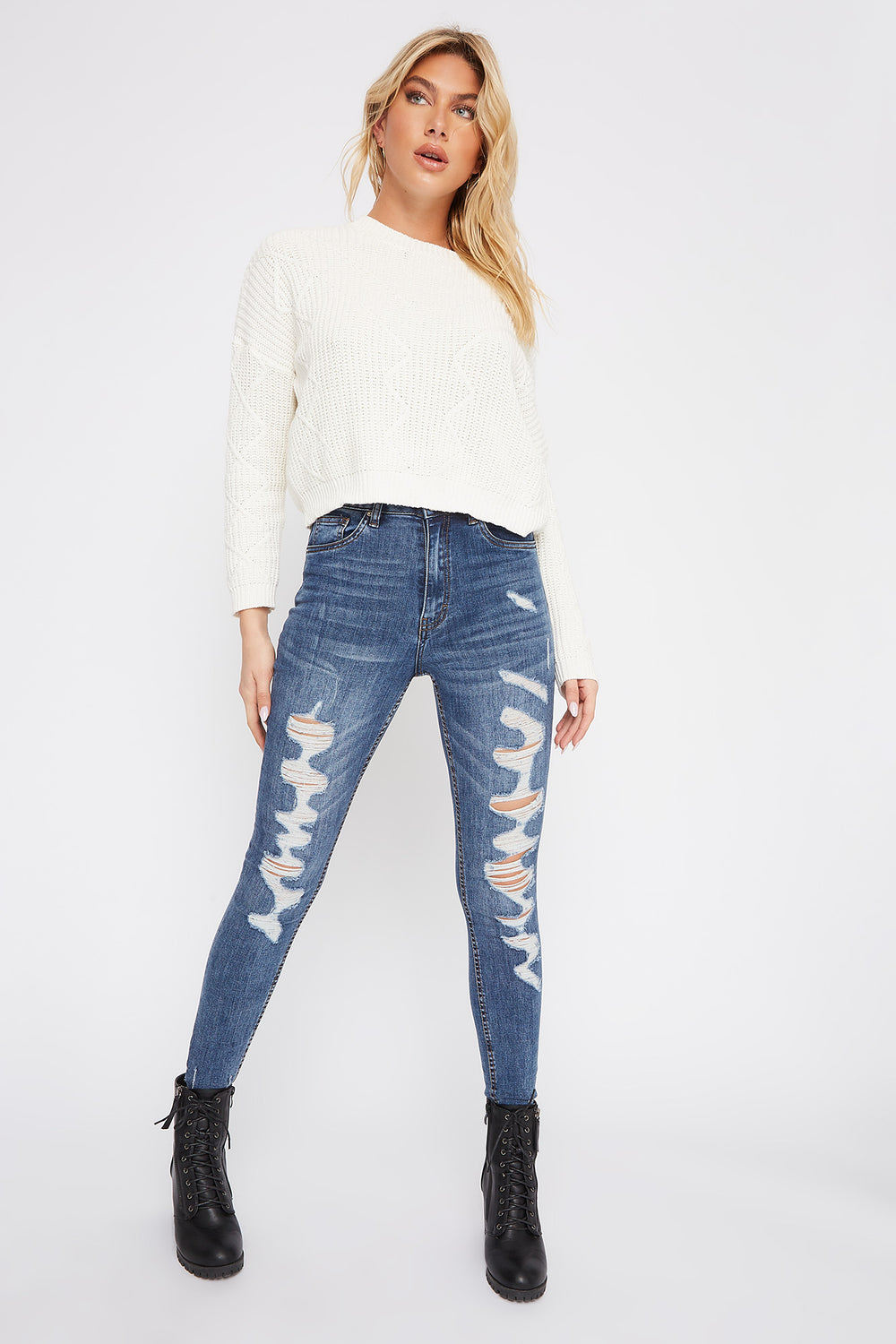 Ultra High-Rise Dark Wash Distressed Skinny Jean Medium Blue