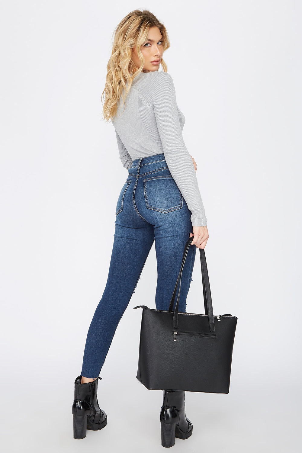 Ultra High-Rise Dark Wash Distressed Skinny Jean Denim Blue