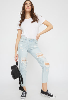 Ultra High-Rise Light Wash Distressed Mom Jean