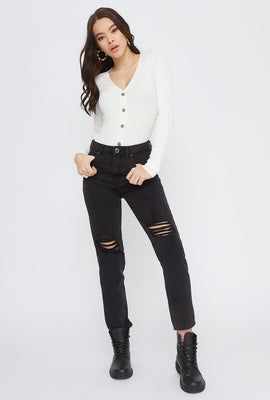 Black Distressed Mom Jean