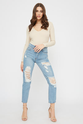 Ultra High-Rise Mid Wash Distressed Mom Jean