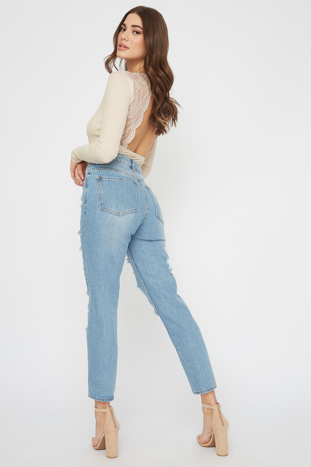 Ultra High-Rise Mid Wash Distressed Mom Jean Medium Blue