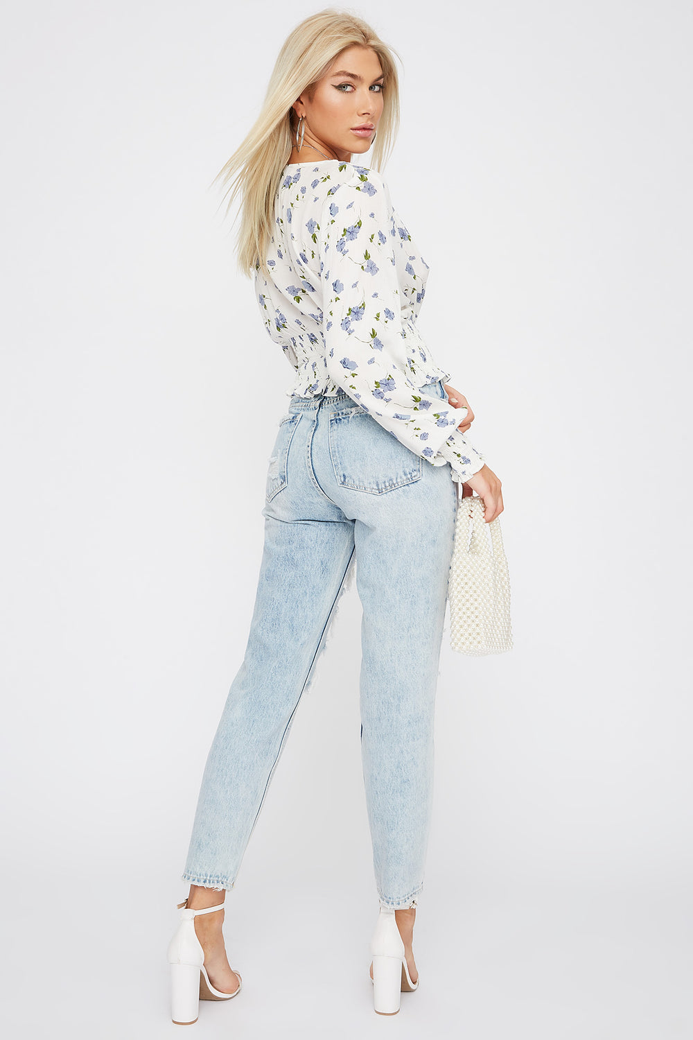 Ultra High-Rise Distressed Frayed Hem Mom Jean Blue