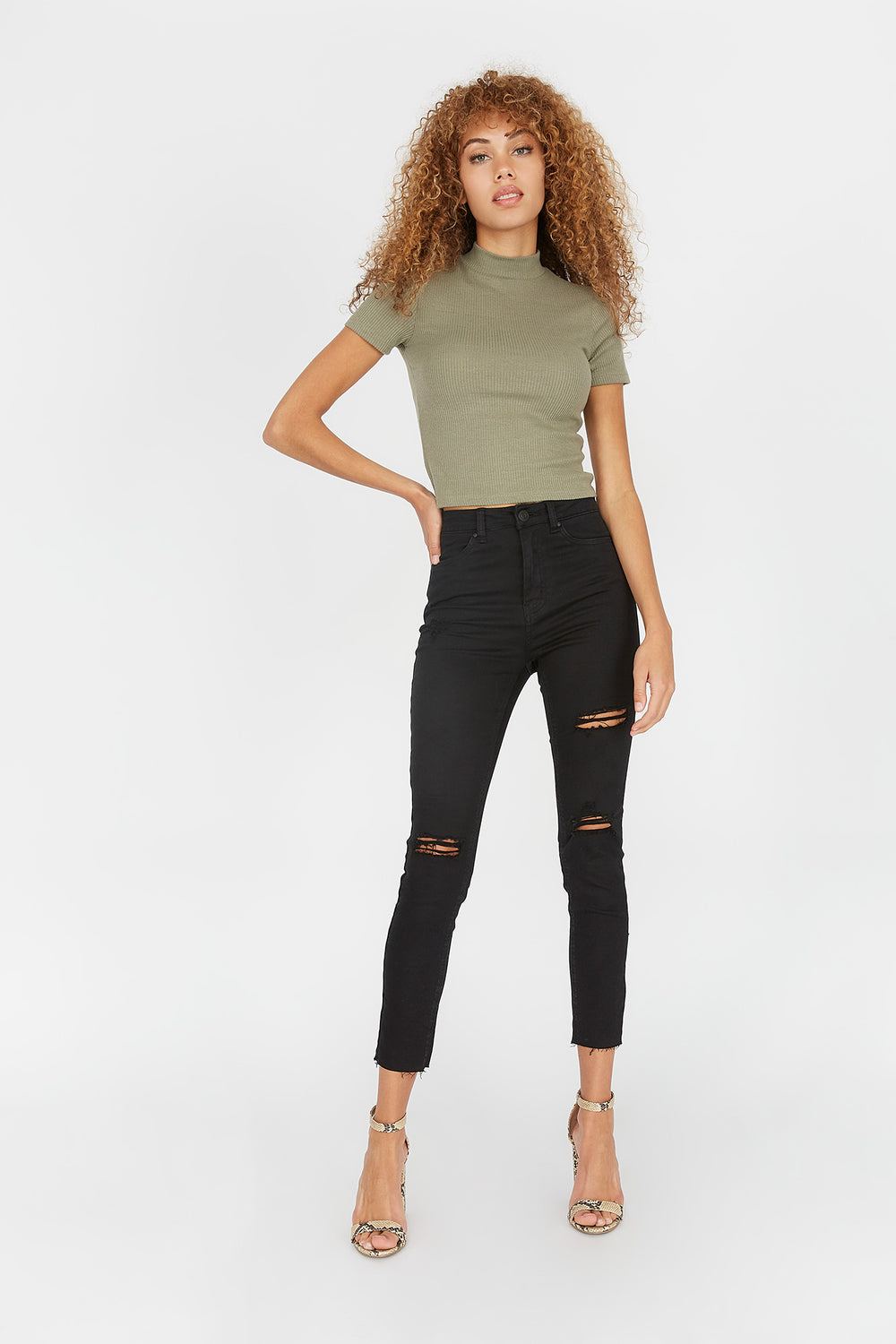 Refuge Cali Ultra High-Rise Distressed Black Skinny Jean Black